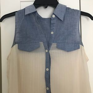 Lush Pleat Back Chambray Tunic Top
